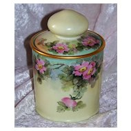"""Gorgeous Bavaria Vintage 1900's Hand Painted """"Wild Pink Roses"""" 6-3/4"""" Tobacco Humidor"""