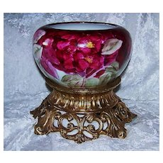 """Gorgeous Rosenthal Selb Bavaria 1900's Hand Painted Vibrant """"Deep Red Roses"""" Floral Jardiniere"""