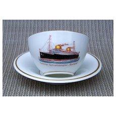 "Scarce  Carstens Kommandit-Gesellschaft 1930's German Cruise Liner ""Europa"" Hand Painted  Scenic Cup & Saucer"