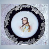 """Outstanding Limoges France 1900's Hand Painted Portrait """"Queen Marie Leczinska"""" With Heavy Silver Overlay 9-3/4"""""""" Plate Artist Signed"""