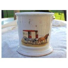 """Vintage T & V Limoges France 1900's Hand Painted """"Milk Wagon"""" Occupational Shaving Mug"""