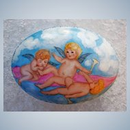 """Gorgeous 7-1/2"""" """"Three Cherubs Frolicking in the Clouds"""" Hand Painted Scenic Dresser Casket by the Artist, """"Phyllis Nelson"""""""