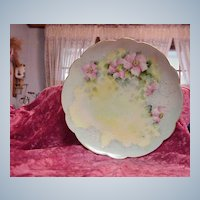 """Attractive Limoges Vintage 1900 HP """"Country Roses"""" 9-1/4"""" Soft Blue Plate"""
