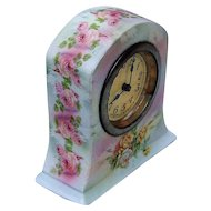 Scarce Royal Bayreuth 1900's Hand Painted Rose Tapestry Clock