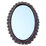 Beautiful 1930-40's Fancy & Ornate Gold Decor 2-Sided Hand Mirror