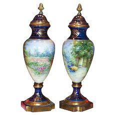 """16"""" Pair of Spectacular & Scarce Pickard Studio of Chicago 1900's Hand Painted """"Garden Scene"""" Cobalt Blue Matching Urns by the Listed Pickard Artist """"Rean"""""""