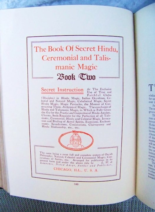 LW de Laurence Scarce 1915 Editon of the 635+ Pages The Great Book of  Magical Art, Hindoo Magic and Indian Occultism