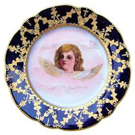 "Attractive France Pre-1900's Hand Painted ""Winged Cherub"" 7-7/8 Cobalt Decor Plate"
