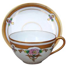 """Beautiful Pickard Studio of Chicago 1912 Hand Painted """"Pink Daisies"""" Cup & Saucer"""