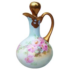 "Outstanding AK France Limoges 1900's Hand Painted Lifelike ""Petite Pink Roses"" 6-3/4"" Cruet & Stopper"