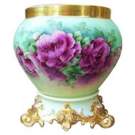 "Spectacular Museum Quality T & V Limoges Early 1914 Hand Painted Vibrant ""Red Roses"" 12-3/8"" Jardiniere & Base by the Listed Chicago Studio Artist, ""Helga Ong"""