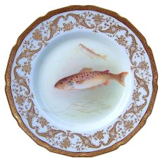 """Royal Doulton Early 1900's Hand Painted """"Trout"""" 9"""" Fish Plate by the Artist, """"T. Wilson"""" Made Especially For Gilman Collamore & Co. NYC - Red Tag Sale Item"""