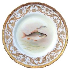 """Attractive Royal Doulton Early 1900's Hand Painted 9"""" Fish Plate by the Artist, """"T. Wilson"""" Made Especially For Gilman Collamore & Co. NYC - Red Tag Sale Item"""