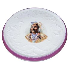 """Vintage Germany 1900's """"American Indian Chief"""", Wearing the Presidential Medal of Peace, 6-1/2"""" Trivet"""