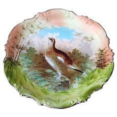 """Vintage ES Germany [RS Prussia] 1900's Hand Painted """"Grouse"""" 11-1/2"""" Scenic Game Charger"""