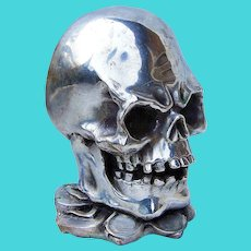 Fabulous Vintage Pre-1930 Chinese Silver Plated Human Skull Solid Brass Made in Northern China