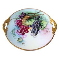 """Attractive MZ Austria 1900's Hand Painted """"Deep Purple, Purple, & Red Grapes"""" 11"""" Plate by the Artist, """"L.M. Craig"""""""