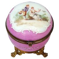 "Gorgeous France Victorian Pre-1900's Hand Painted & Enameled ""Young Couple Courting"" Pink Opaline Ormolu Mounting Dresser Casket"