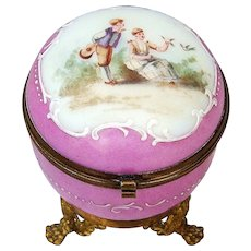 """Gorgeous France Victorian Pre-1900's Hand Painted & Enameled """"Young Couple Courting"""" Pink Opaline Ormolu Mounting Dresser Casket"""