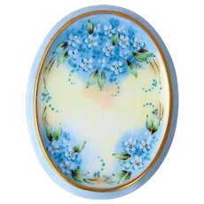 """Beautiful Bavaria Hand Painted """"Forget Me Not"""" 4-7/8"""" x 3-3/4"""" Floral Plaque"""