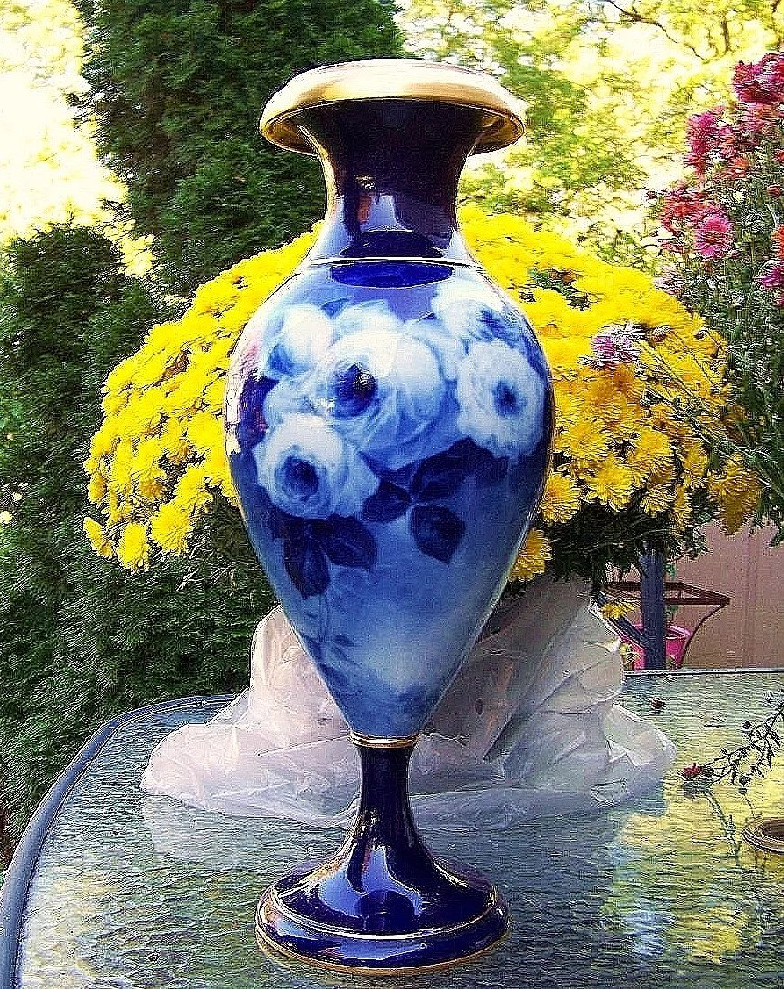Hand Painted In France Solid Blue Vase