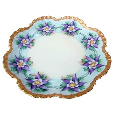 """Attractive Vintage Rosenthal Bavaria 1900's Hand Painted """"Purple Lavender Flower"""" Fancy Scallop 10"""" Plate"""
