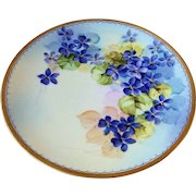 """Outstanding Sevres Bavaria Early 1900's Hand Painted Vibrant """"Violets"""" 8-3/4"""" Plate by the Pickard Artist, """"William Breidel"""""""