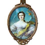 "Gorgeous Vintage 1900's Hand Mirror of ""Louise Henriette of Bourbon, Duchess of Orléans"" Hand Painted by the Artist, ""J.M. Wattier"""