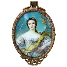 "Gorgeous Vintage 1900's Hand Painted of ""Louise Henriette of Bourbon, Duchess of Orléans"" 9-3/8"" Portrait Hand Mirror by the Artist, ""J.M. Wattier"""