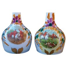"""Stunning Vintage """"Fox Hunting"""" Scenic Hand Painted 1900's Matched Barber Bottles"""