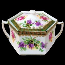 "Gorgeous RS Prussia 1900's ""Lilac & Roses"" 6-Sided Cracker Jar - Red Tag Sale Item"