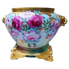 """Gorgeous Vienna Austria 1900's Hand Painted Vibrant """"Red & Pink Roses & Burnt Orange & White Poppies"""" Heavy Gold Lion Handle Jardiniere by the Artist, """"L. Davitz"""""""