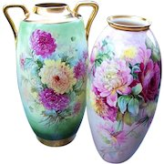 """50% OFF  20-1/2"""" Royal Austria 1900's Vibrant Hand Painted """"Red, Yellow, & White Mums"""" Outstanding Floral Floor Vase"""