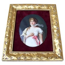 "Fabulous Vintage Royal Vienna 1900's Hand Painted Portrait of ""Queen Louise of Prussia"" 13-1/4"" x 11-1/4"" Plaque"