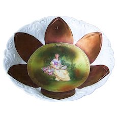 """RS Prussia 1900's """"Lady With the Fan"""" 9-3/4"""" Iridescent Bronze Portrait Bowl"""