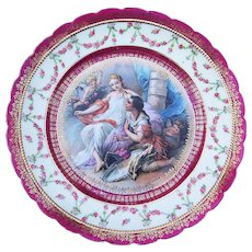 "Royal Vienna Style 1900's German ""Romantic Courting of Venus"" 9-3/4"" Scenic Plate"
