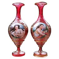 "Museum Quality 15"" Matched Pair of Bohemian Moser 1900's Hand Painted Partial Nude & Lady With Doves Portrait Cranberry Red Vases"