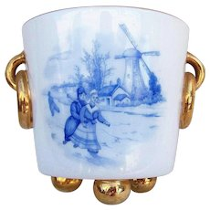 Gorgeous Dutch Decor 1900's Hand Painted Double Scenic Windmill Footed Planter