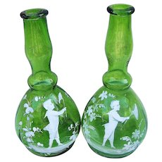 """Outstanding Vintage 1900's Mary Gregory """"Boy Chasing Butterflies"""" 8-1/2"""" Matched Set of Emerald Green Barber Bottles"""