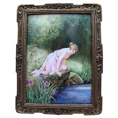 """50% OFF  Outstanding T & V Limoges France 1900's Hand Painted Greek Partial Nude """"Water Nymph"""" 11-1/2"""" x 9"""" Scenic Plaque by the Artist, """"O'Brien"""""""