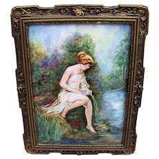"""50% OFF  Beautiful T & V Limoges France 1900's Hand Painted Partial Nude """"Bather"""" 11-1/2"""" x 9"""" Scenic Plaque by the Artist, """"O'Brien"""