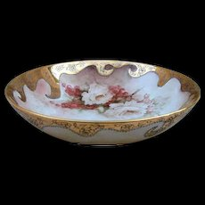 "Beautiful Bavaria Hand Painted ""White Roses & Red Currant"" 10"" Floral & Fruit Bowl by the Artist, ""Hess"". - Red Tag Sale Item"