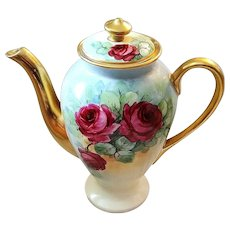 """Gorgeous Osborne Studio of Chicago 1900's Hand Painted Deep """"Red Roses"""" 8-1/2"""" Floral Tea Pot by Listed Artist, """"Asbjorn Osborne"""""""