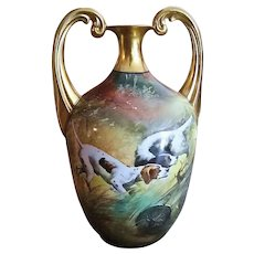 """Spectacular Edward Donath & Co. & Germany Hohenzollern 1900's Hand Painted """"Pair of Hunting Dogs"""" 9"""" Scenic Muscle Vase by the Listed Artist, """"Adolph Heidrich"""""""