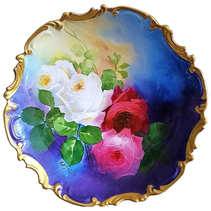 Spectacular Limoges France Coronet 1900\'s Hand Painted Vibrant \