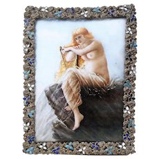 """50% OFF  Beautiful Limoges France Hand Painted 1900's """"Gorgeous Nude At The Sea Playing Harpsichord"""" Scenic Plaque"""