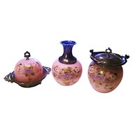 "Superb Mt. Washington Glass 1900 Hand Painted Enamel Pink Lavender ""Daisies"" 8"" Vase With Silver Plated Top"