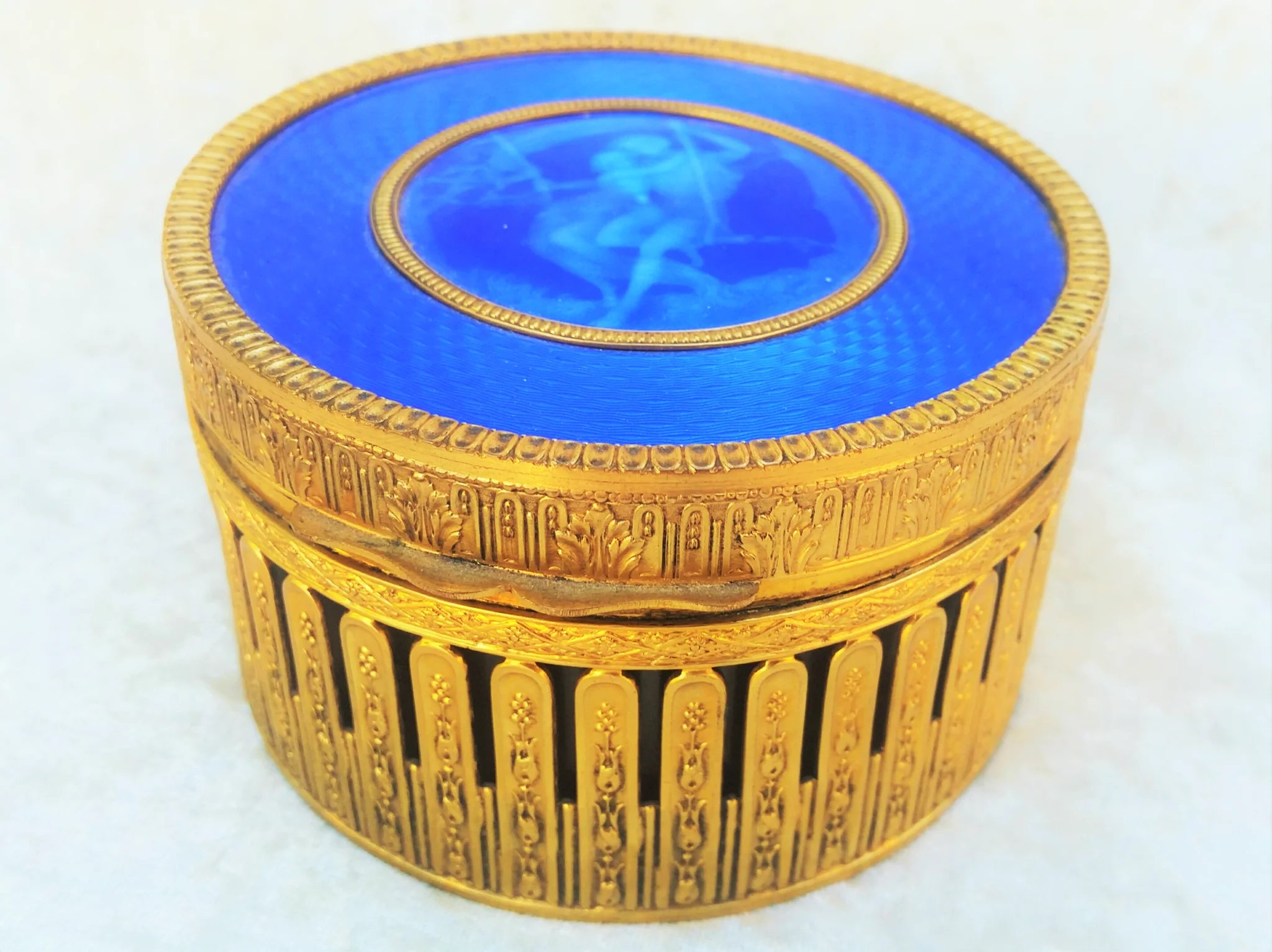 Spectacular France 1900s Blue Guilloche Translucent