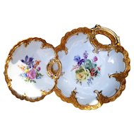 """Gorgeous Germany 1930-40's Hand Painted """"Mixed Flowers"""" One-Handle Floral Bowl & One-Handle Floral Nappy"""