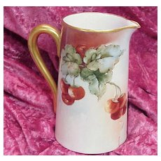 """Attractive Vintage 1900 Bavaria Hand Painted """"Red & Purple Grapes"""" 6"""" Pitcher"""